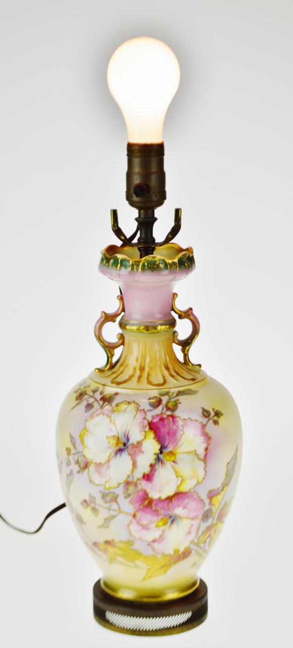 Victorian Royal Bonn Germany Hand Painted Porcelain Vase Table Lamp   Image  2 Of 13