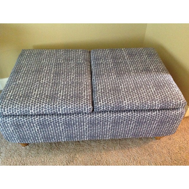 Contemporary Navy Ikat Storage Ottoman For Sale - Image 3 of 6