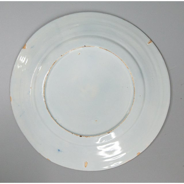 Ceramic Antique 18th-Century Delft Dutch Chinoiserie Floral Plate For Sale - Image 7 of 8
