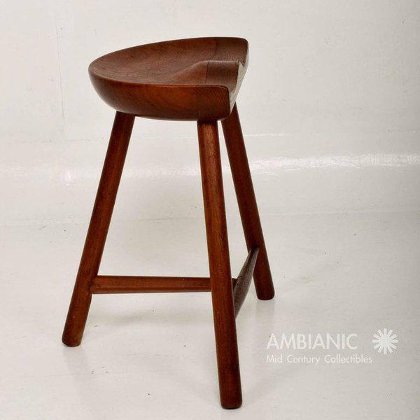 Mid-Century Danish Modern Solid Teak Stool For Sale - Image 9 of 10