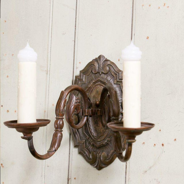 Pair Belgian Flemish Baroque-Style Bronze Sconces, circa 1910 For Sale In Houston - Image 6 of 10