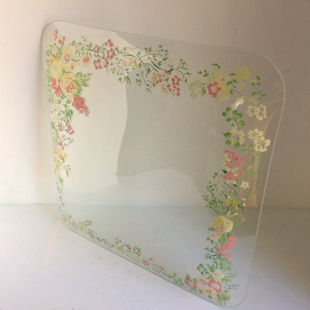 Glass Dorothy Thorpe California Wild Flower Square Serving Platter For Sale - Image 11 of 13