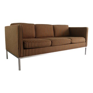 Edward Axel Roffman 3 Seat Sofa in Original Striped Upholstery on a Chrome Base, USA For Sale