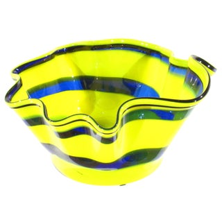 Pasargad N Y Multi Colored Handkerchief Shaped Blended Glaze Bowl For Sale