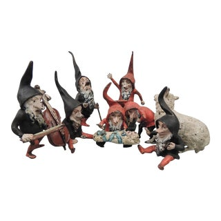"""Cold-Painted Antique """"Snow White & the Seven Dwarves"""" Vienna Bronzes - Set of 7 For Sale"""