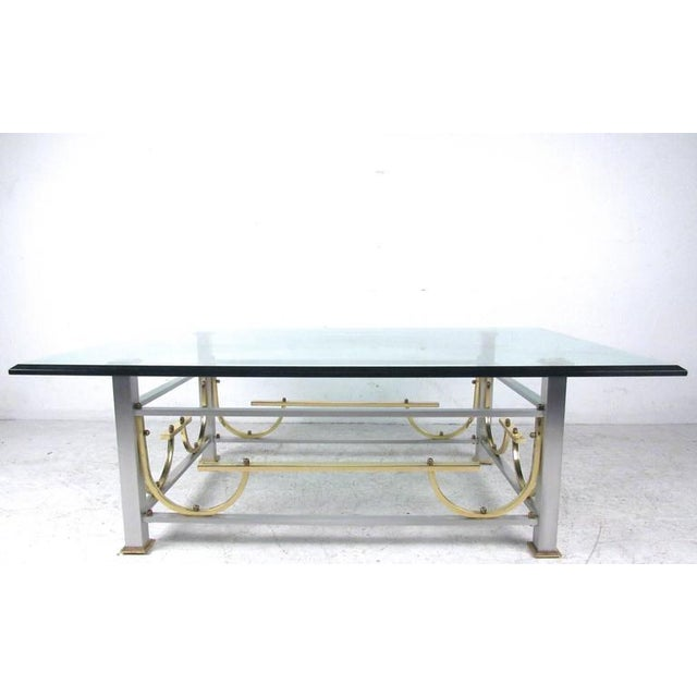 Mid-Century Modern Maison Jansen Style Chrome & Brass Coffee Table For Sale - Image 10 of 10