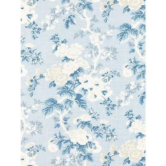 Sample, Scalamandre Ascot Linen Print, Sky For Sale
