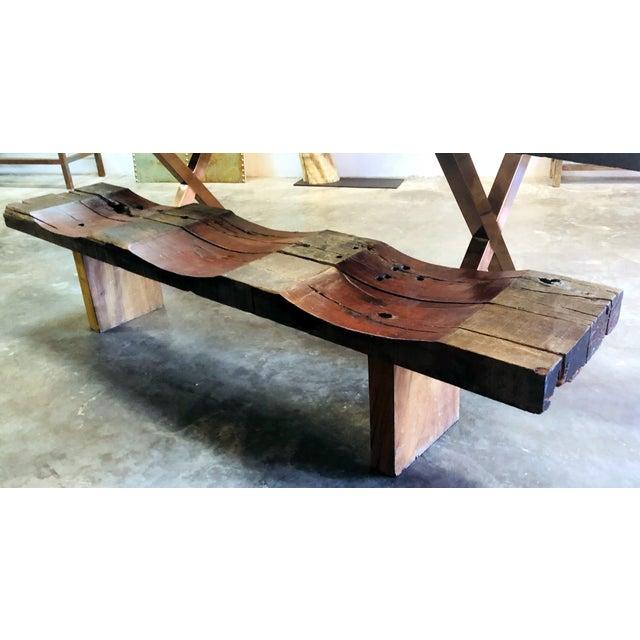 Solid Antique Teak Wood Wave Bench or Table