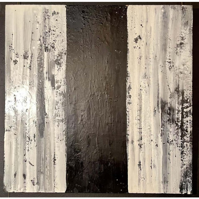 """Lynn Basa Encaustic black and white stripe panel """"Three Ways of Looking Black"""" (signed and dated) 2013, Encaustic on..."""