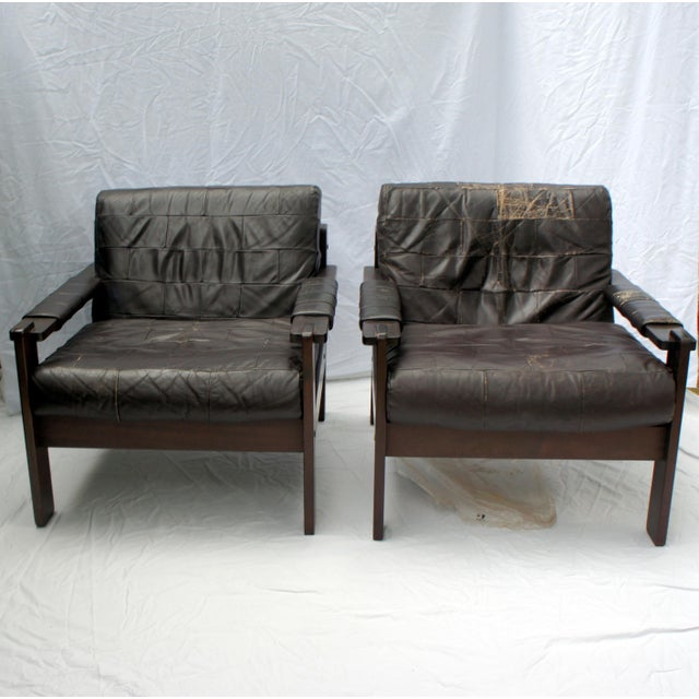 Mid-Century Modern 1960s Vintage Moveis Corazza Brazil Distressed Leather and Jatoba Wood Club Armchairs - a Pair For Sale - Image 3 of 11