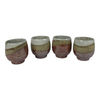 Mid Century Japanese Tan Stoneware Pottery Cups - Set of 4 For Sale