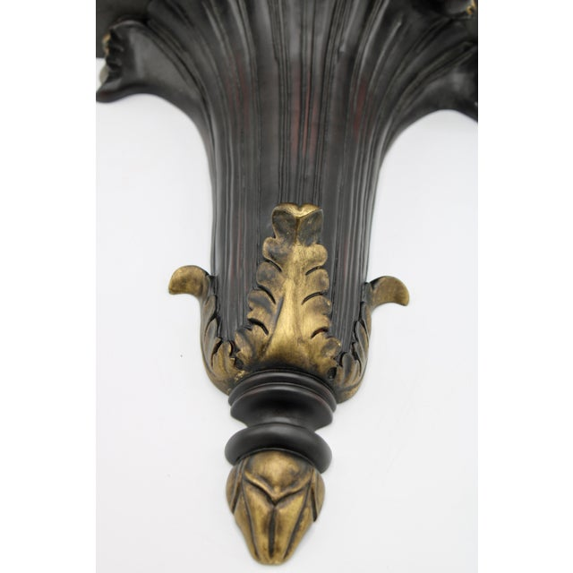 Mid 20th Century Large Black and Gold Acanthus Leaf Wall Shelf For Sale - Image 5 of 11