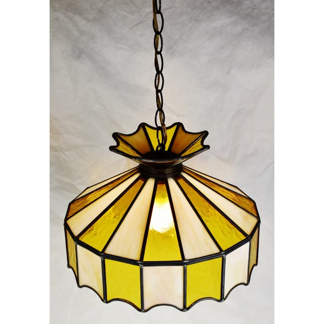 Vintage Tiffany Style Leaded Glass Pendant Light Chandelier For Sale - Image 4 of 13