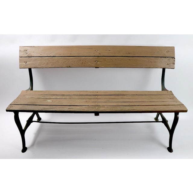 Nice vintage park bench with a cast iron frame and solid wood boards seat and back. Good original condition sturdy, solid...
