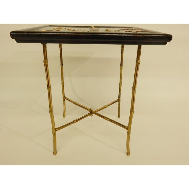 Pair of Bamboo Brass Base and Chinoiserie Top Side Tables For Sale - Image 4 of 8