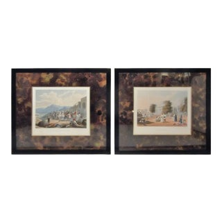 1826 Antique Hand Colored Engravings of India Lithographs - A Pair For Sale