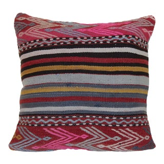 1970s Mid-Century Modern Kilim Pink Wool Rug Pillow For Sale