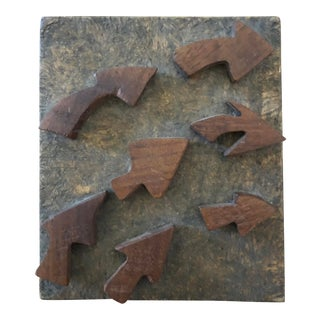 Vintage Arrows Wooden Block Carving For Sale