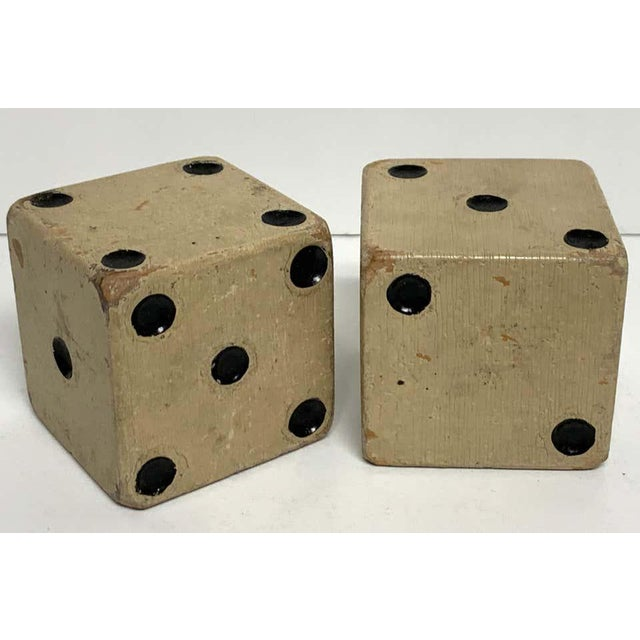 Art Deco Scale Vintage Wooden Casino Dice - a Pair For Sale - Image 3 of 7