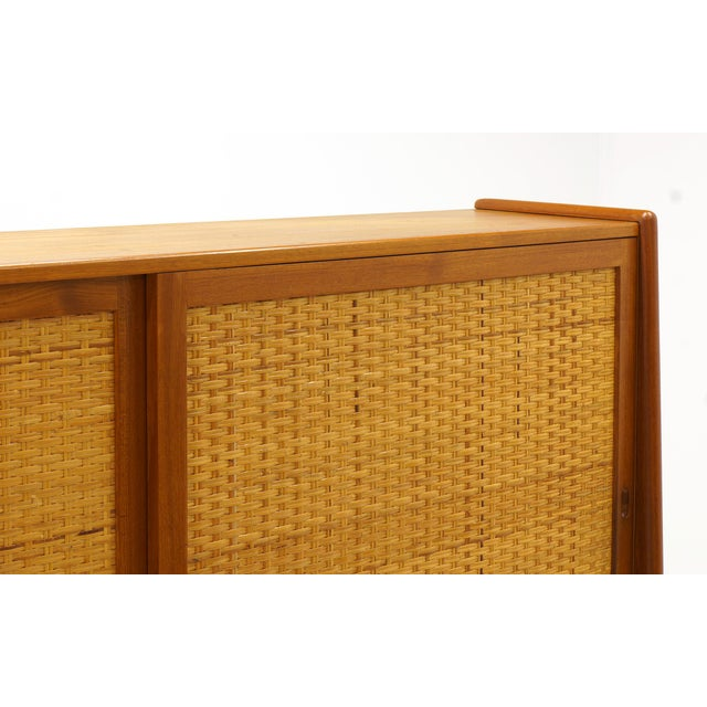Mid-Century Modern Hans Wegner Wall Unit, Room Divider or Sideboard, Rare Teak and Cane Version For Sale - Image 3 of 10
