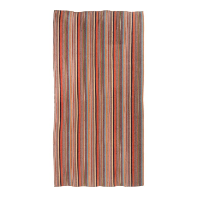 Contemporary Striped Wool Kilim Rug - 6′10″ × 11′6″ For Sale