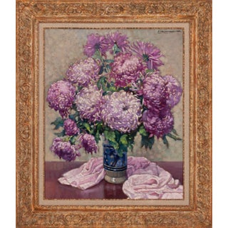 "1945 ""Vase Aux Chrysanthèmes Violets"" Floral Still Life Oil Painting by Paul Terpereau, Framed For Sale"