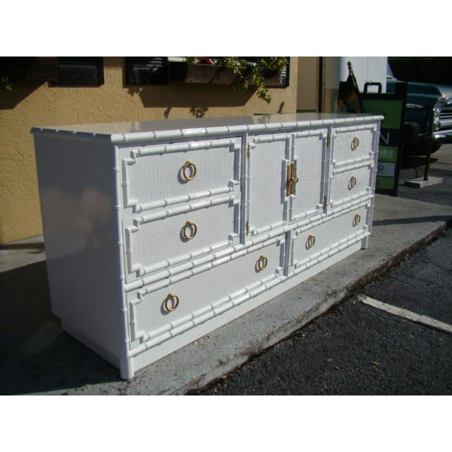 1960s Chinoiserie Bamboo Rattan Long Dresser For Sale - Image 4 of 7