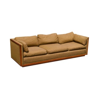 Mid Century Modern Walnut Long Box Sofa