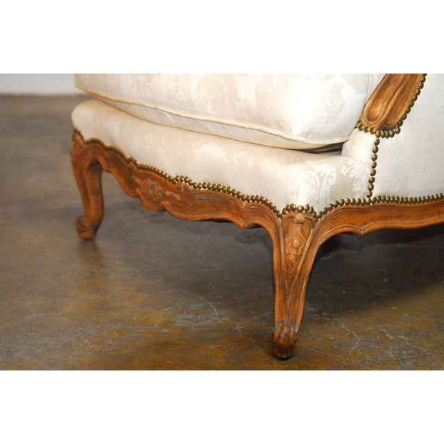 Louis XV Style Walnut Bergeres - Pair - Image 6 of 8