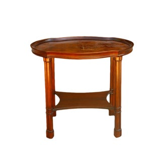 1970's Chippendale Hekman Walnut Inlay Veneer Side Table