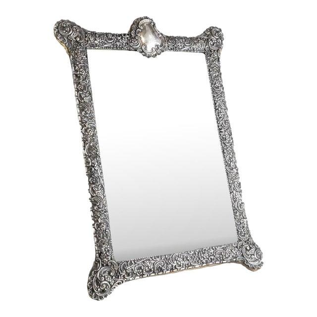 Circa 1903 Fine English Victorian Sterling Silver Leather & Wood Mounted Table Mirror - Image 1 of 7