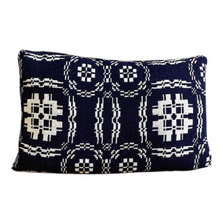 Vintage American Coverlet Lumbar Pillow For Sale