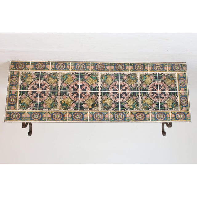 Blue Spanish Tile Top Wrought Iron Patio Table For Sale - Image 8 of 13