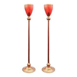 Italian Modern Murano Glass Torchiere Floor Lamps - a Pair For Sale