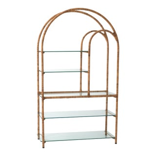 1970s Mid-Century Rattan Wrapped Etagere For Sale