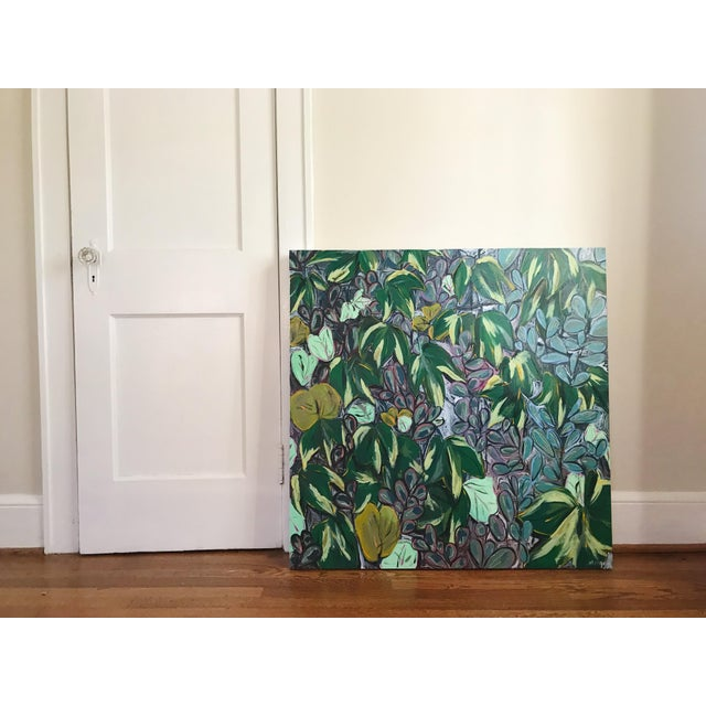 """Ivy for Evelyn"" is an acrylic painting on a 36""x36"" wood panel that is 2 inches deep. This painting is painted white on..."