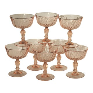 1980s Vintage Pink French Champagne Coupes - Set of 8 For Sale