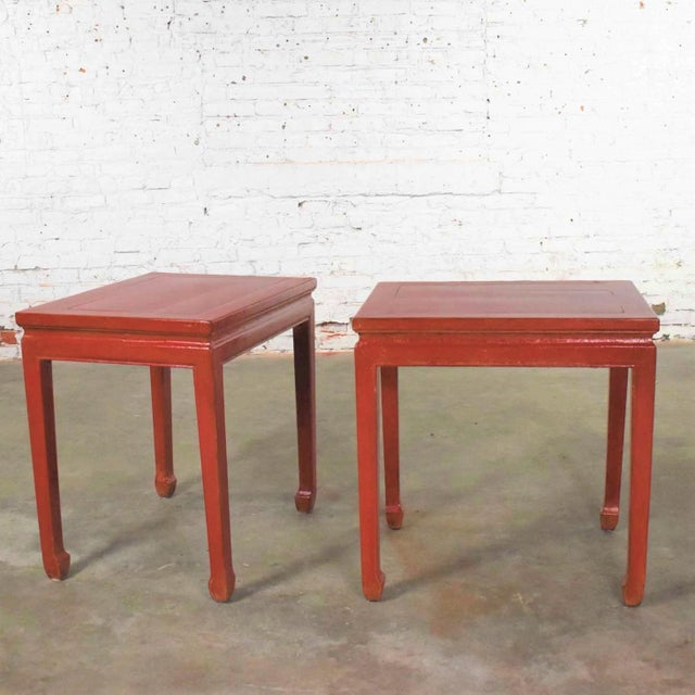 Mid 20th Century Asian Ming Style Chinese Crackle Red Lacquer Rectangular End Tables - a Pair For Sale - Image 13 of 13