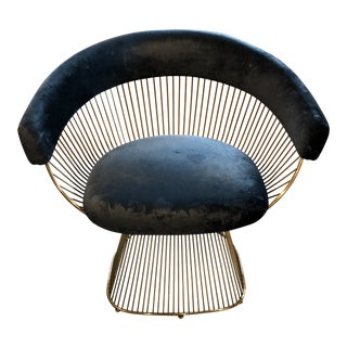 Modern Platner Navy and Brass Arm Chair For Sale