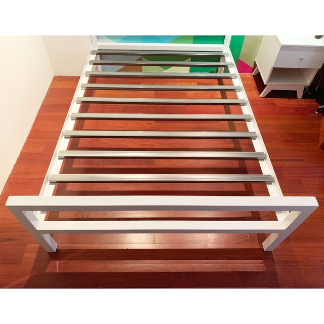 Room & Board Contemporary White Parsons Full Sized Bedframe For Sale - Image 4 of 8