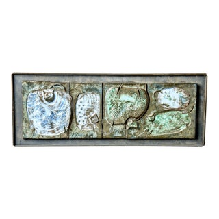Mid-Century Abstract Pottery Plaque With Cats For Sale