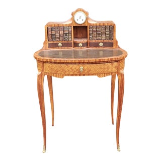 Antique 19th Century French Satinwood Parquetry Bonheur Du Jour Ladies Writing Desk W/ Clock C1880 For Sale