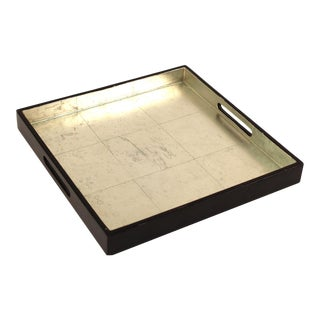 Art Deco Style Serving Tray With Silver Inlay For Sale