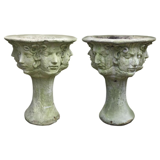 Early 20th C. French Medusa Head, Faces, and Snakes Cement Planters - a Pair For Sale - Image 12 of 12