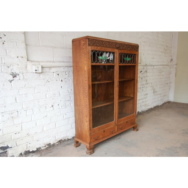 Arts & Crafts Antique Carved Oak Bookcase with Leaded Stained Glass Doors,  Circa 1900 For - Antique Carved Oak Bookcase With Leaded Stained Glass Doors, Circa