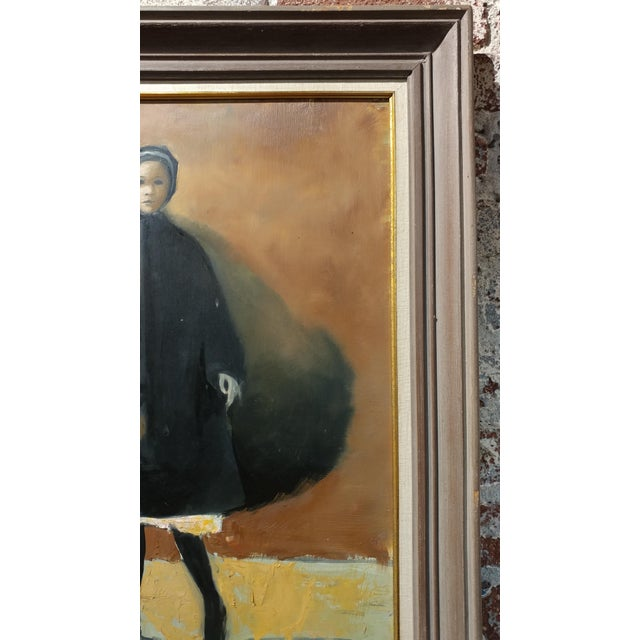 Girl with a Black Coat -1961 Mid century Modern Oil painting by Weber - Image 9 of 10