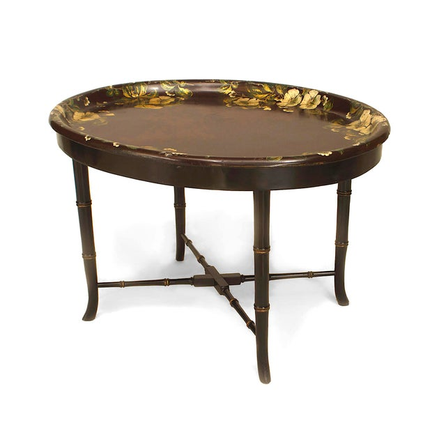 Traditional English Victorian Papier Mâché Tray Top Coffee Table For Sale - Image 3 of 3