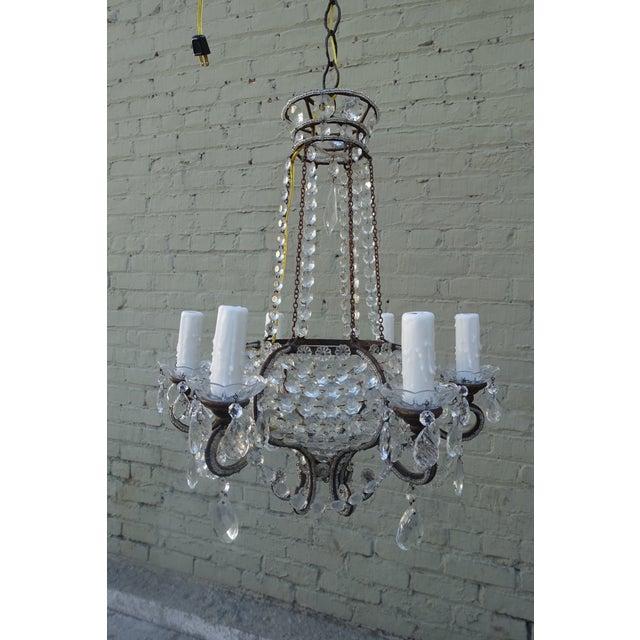 Italian 6 Light Crystal Beaded Basket Chandelier Image 9 Of 10