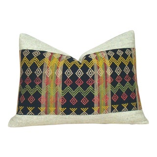 Handwoven Geometric African Lumbar Pillow Cover For Sale