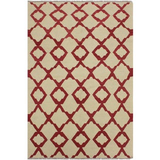 Contemporary Kilim Anh Ivory/Red Hand-Woven Wool Rug - 4'3 X 6'1 For Sale